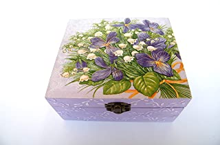 Caja para bolsitas de tè, almacenaje madera para infusiones 4 compartimentos, violetas, joyero 16x16x7,5 cm