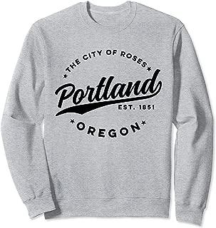 Vintage Portland Oregon City of Roses Retro USA Black Sweatshirt