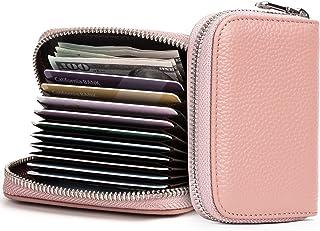 Migeec Credit Card Holder Wallet RFID Blocking Slim Card Case Genuine Leather Zipper Card Organizer (Pink)