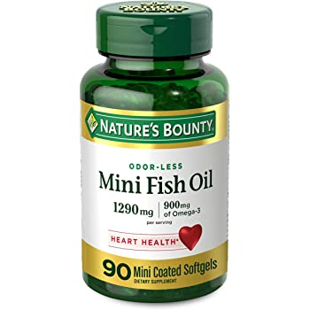 Fish Oil by Nature's Bounty, Dietary Supplement, Omega 3, Supports Heart Health, 1290 Mg, 90 Mini Odorless Softgels