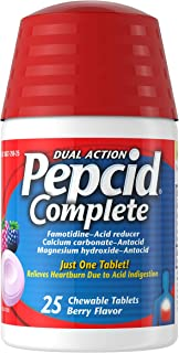 Pepcid Complete Acid Reducer + Antacid Chewable Tablets, Heartburn Relief, Berry, 25 ct