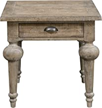 Tulare Square End Table in Sandy Beach with One Drawer, Plank Style Top, And Turned Legs, by Artum Hill