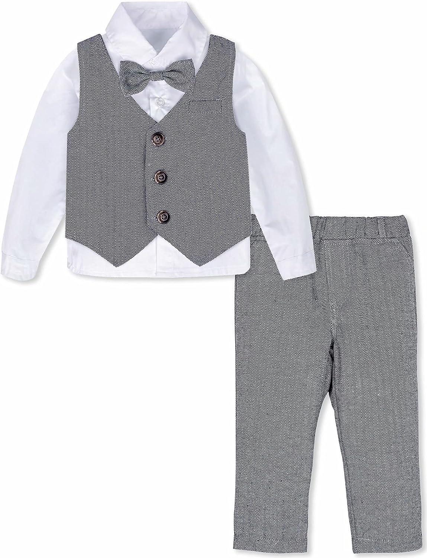 A&J DESIGN Toddler & Baby Boys Gentleman Outfit 3pcs Tuxedo Formal Suit Shirt & Pants & Vest