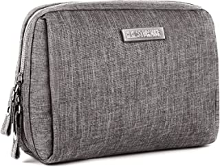 Portable Makeup Bag Travel Cosmetic Pouch Jewelry Organizer with Zipper Make Up Waterproof Toiletry Storage Carry Case for Women Girls Purse Handbag (Cube-Light Gray)