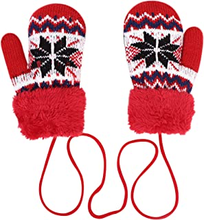 Gants Gar/çons Filles Moufles Cachemire Chauffant Mitaines Plein-doigts Tricot/é Epais Gants Ext/érieur Chaud Anti-vent//froid Cartoon Mignon Gloves Sport Ski Snowboard V/élo Ecole pour Enfants 3-7 Ans
