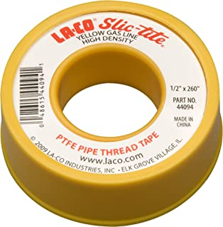 "Best LA-CO 44094 Slic-Tite PTFE Gas Line Pipe Thread Tape, Premium Grade, [260"" Length, 1/2"" Wide], Yellow Review"
