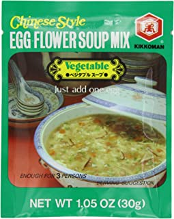 Kikomn Egg Flower Soup Mix, Vegetable, 1.05-Oz Pouches (Pack of 24)