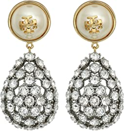 Tory Burch - Crystal Pearl Statement Earrings
