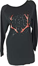Victoria.. Secret Christmas Sleepshirt Plaid Reindeer Antlers Small Black