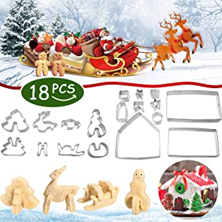 18 Pieces Christmas Cookie Cutters Stainless Steel Biscuit Mold and 10 Pieces Piping Bags Disposable Pastry Decorative Bag with Box for Baking DIY Candy Gingerbread Making