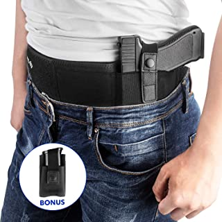 Belly Band Holster for Concealed Carry, IWB Gun Holsters for Men Women, Most Comfortable Waistband Handgun Carry with Magazine Pouch, One Holster Fits Most Pistols & Revolvers, BONUS Movable Mag Pouch