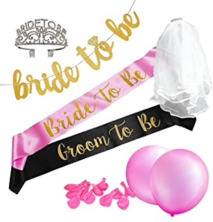 Bachelorette Party Kit: Bride to Be sash, Groom to Be sash, Rhinestone Tiara,White Veil, 12 Pink Balloons, one Bride to Be Banner.