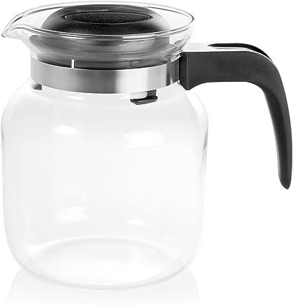 Wenco Glaskanne/Teekanne mit Deckel, Füllvolumen: 1,25 l, Glas/Kunststoff, Transparent/Schwarz, Matura, 531078 preisvergleich bei geschirr-verleih.eu