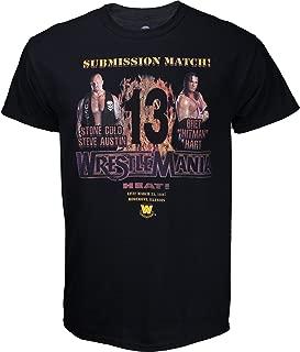 WWE Stone Cold vs Bret Hart Wrestlemania 13 Poster Shirt - Black - Large