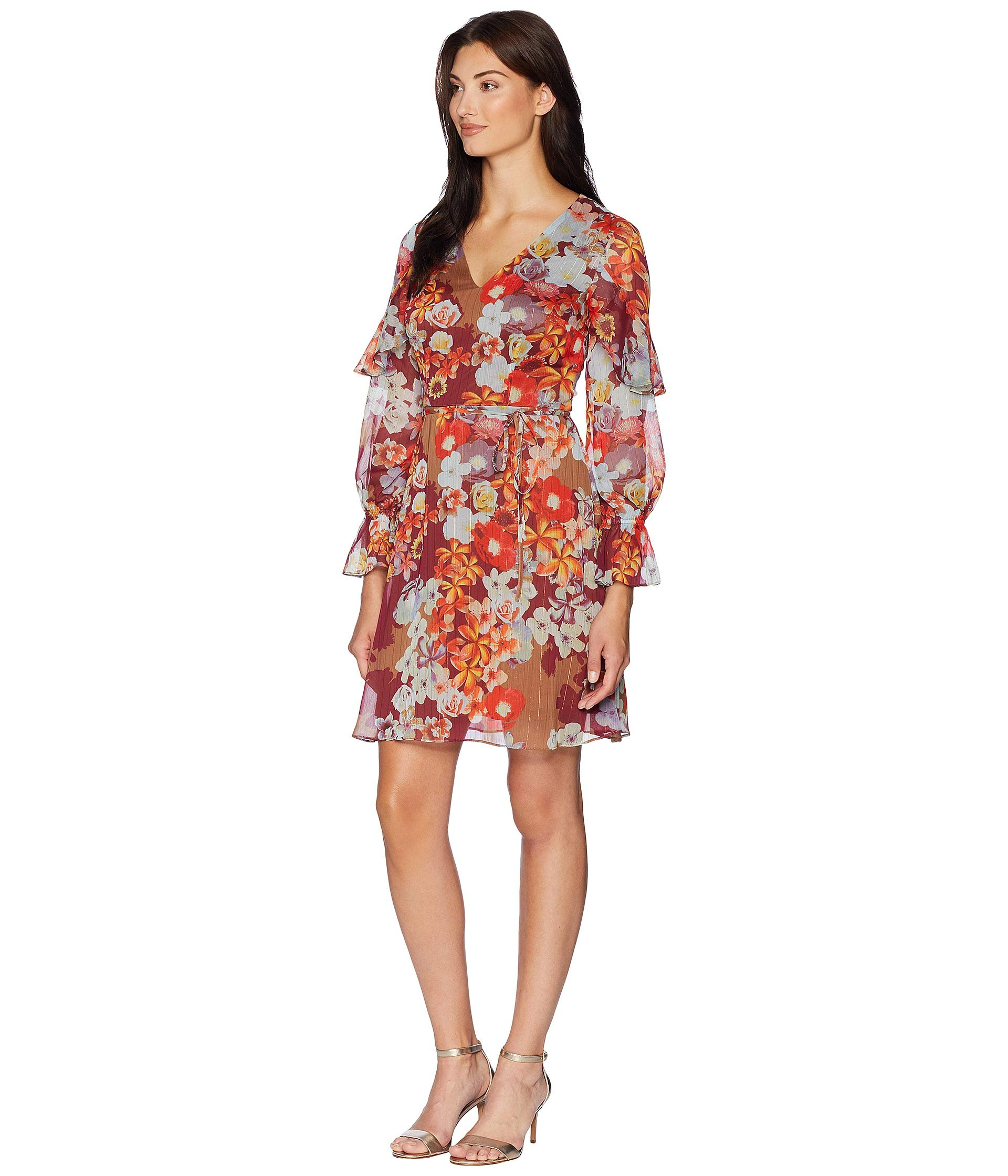 Ruffle Sleeve Dress Stripe Chiffon Metallic Papell Floral Adrianna Print Burgundy Multi nFwqY0B8H