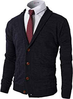 Mens Casual Comfortable Fit Cardigan Sweater Shawl Collar Soft Fabric with Ribbing Edge