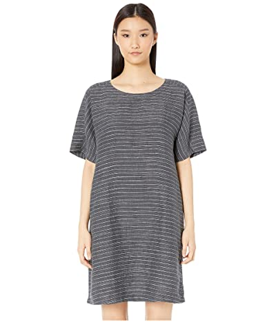 Eileen Fisher Organic Linen Delave Pinstripe Scoop Neck Tunic Dress (Graphite) Women