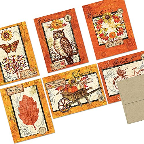 Fall Hello Cards Thank You Cards Set Autumn Blank Cards Set of 2