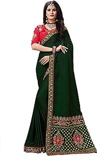 b206c47945 Sunshine Fashion Women's Zoya Silk Embroidery Work Saree With Unstitched  Blouse Piece(SUNS3153_Green_Free Size)