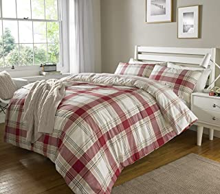 Sleepdown Check Red Striped Reversible Soft Duvet Cover Quilt Bedding Set With Pillowcases - King (220cm x 230cm)
