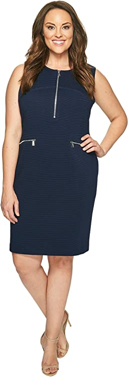 Plus Size Sleeveless Textured Dress with Zippers