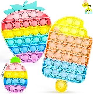 اسباب بازی Fidget پاپ IDJWVU ، اسباب بازی حسی حبابی Push Pop ، پاپ روی آن بسته Fidget بسته اوتیسم استرس ضد استرس فشار منافذ بازسازی احساس اضطراب احساسات برای بزرگسالان کودک (آناناس توت فرنگی بستنی رنگین کمان)