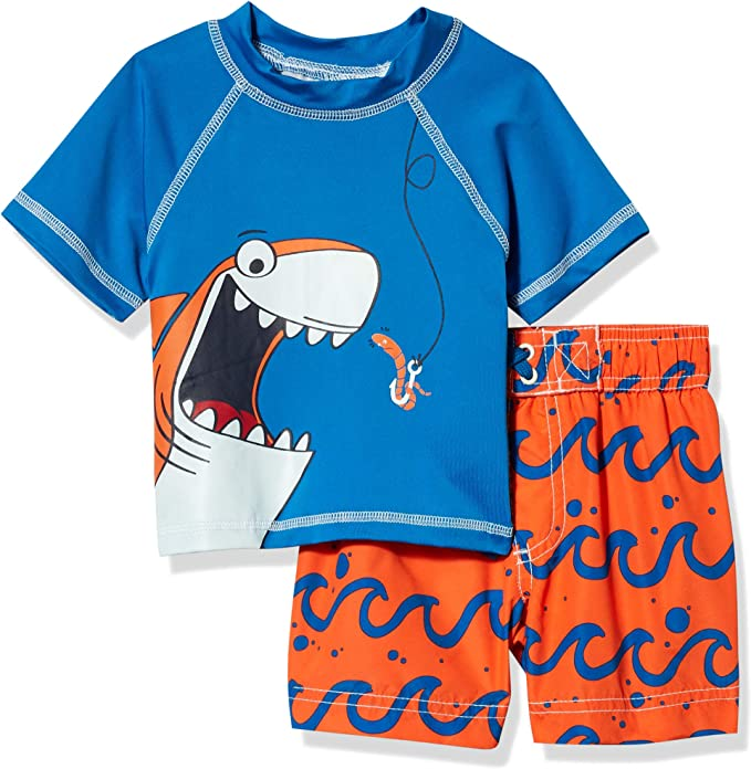 Wippette Boys Toddler Two Piece Printed Rashguard Sets Blue 4T