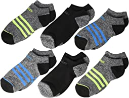 3-Stripes No Show Socks 6-Pack (Toddler/Little Kid/Big Kid/Adult)