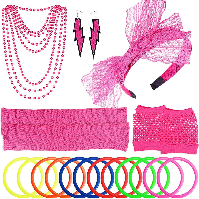 PAXCOO Women's 80s Popular standard Outfit Costume store Neon Accessories Set Headband