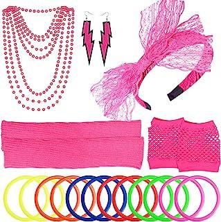 PAXCOO Women's 80s Outfit Costume Accessories Set Neon Headband Earrings Fishnet Gloves Leg Warmers Necklace Bracelet