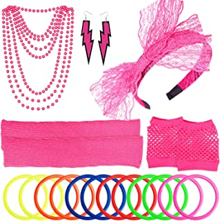 Women's 80s Outfit Costume Accessories Set Neon Headband Earrings Fishnet Gloves Leg Warmers Necklace Bracelet