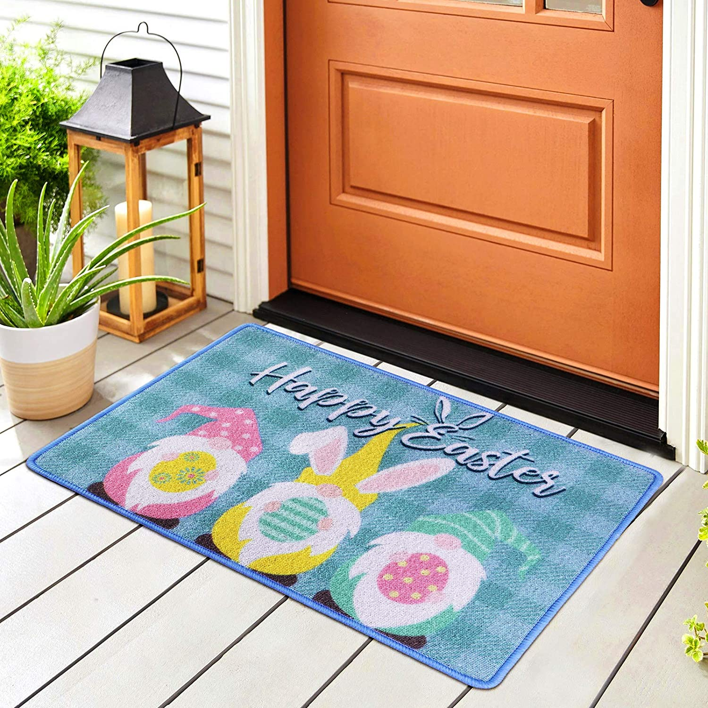 URATOT Seasonal Wrap Introduction Easter Welcome Doormat Indoor unisex Outdoor Gnome Bunny