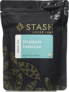Stash Tea Organic Jasmine Green Loose Leaf Tea 3.5 Ounce Pouch Loose Leaf Premium Organic Green Tea for Use with Tea Infusers Tea Strainers or Teapots, Drink Hot or Iced, Sweetened or Plain