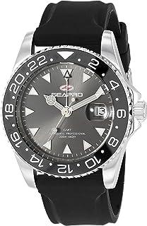Seapro Men's Agent Stainless Steel Quartz Rubber Strap, Black, 20 Casual Watch (Model: SP0120)