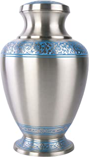 GSM Brands Cremation Urn Holds Adult Human Ashes - Large Handcrafted Funeral Memorial with Elegant Silver Design (Brass - 12 Inch Height x 7.2 Inch Width)