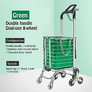 FGDSA Outdoor Shopping Bags Stair Climbing Shopping Trolley Lightweight Aluminum Alloy with Swivel Wheels Large Cart Folda...