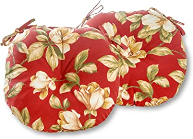 Greendale Home Fashions AZ5816S2-ROMAFLORAL Tuscan Floral Outdoor 15-inch Bistro Seat Cushion (Set of 2)