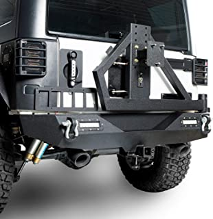 u-Box Different Trail Rear Bumper w/Tire Carrier & Receiver Hitch & 2 x 18W LED Accent Lights for 2007-2018 Jeep JK Wrangler