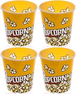Retro Style Popcorn Bowl Meduim Plastic Bucket, Reusable Tub Movie Theater Bucket (Pack of 4)