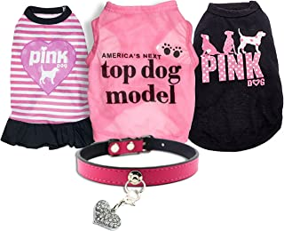 Ollypet Set of 5 Bulk Dog Clothes Dress Shirt Collar for Small Dogs Girl Accessories Puppy Cat Pink Pet Cute Summer Apparel Chihuahua Yorkie