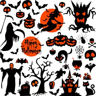 Outus 42 Pieces Halloween Window Cling, Halloween Decal Window Clings, Reusable Static Sparkly Window Cling for Halloween Home Party Decoration