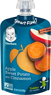 Gerber Purees, Apple & Sweet Potato Toddler Food, 3.5 Ounce Pouch (Pack of 12)