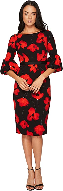 Maggy London - Poppy Power Scuba Crepe Sheath Dress w/ Balloon Sleeve