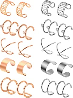 10 Pairs Stainless Steel Ear Cuff Helix Cartilage Clip on Earrings Non Piercing Cartilage Earrings for Women Girls Supplies, 5 Styles