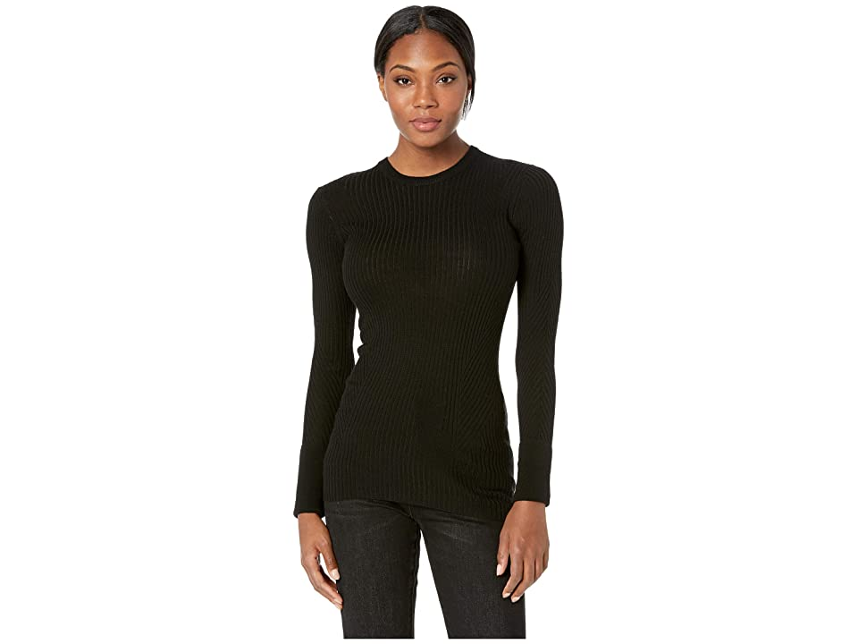 Icebreaker Valley Slim Crewe Merino Sweater (Black) Women