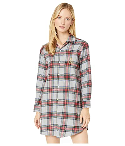 LAUREN Ralph Lauren Brushed Twill Long Sleeve His Shirt Sleepshirt (Multi Plaid) Women