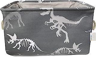 OYHOMO Boîte de Rangement en Toile Dinosaure Gris Panier de Rangement Pliable avec Poignées Bac de Rangement pour Chambre ...