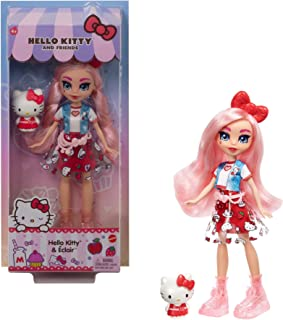 Mattel Sanrio Hello Kitty Figure & Éclair Doll Wearing Fashions and Accessories, Long Pink Hair and Trendy Outfit, Great Gift for Kids Ages 3Y+