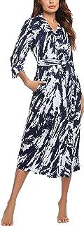 UNibelle Peignoir Femme Kimono à Col en V Robe de Chambre Polaire à Manches 3/4 Peignoir Femme de Bain Tissu éponge avec P...