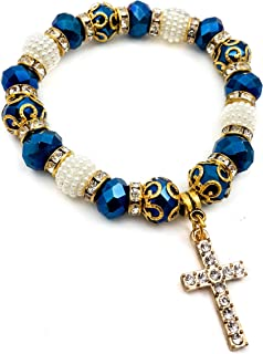 Catholic Crystallized Cross Deep Blue Crystal Beads Wrist Rosary Bracelet Adjustable Elastic Bangle